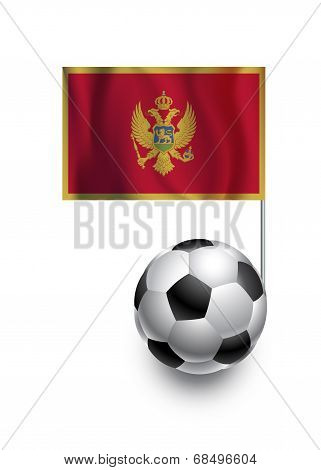 Illustration of Soccer Balls or Footballs with pennant flag of Montenegro country team