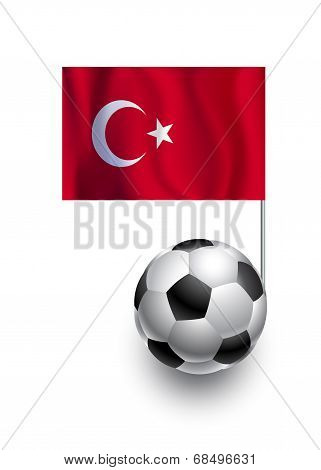 Illustration Of Soccer Balls Or Footballs With  Pennant Flag Of Turkey Country Team