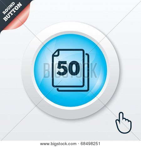 In pack 50 sheets sign icon. 50 papers symbol.