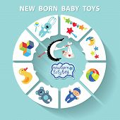 picture of baby doll  - Cute Baby born toys infographic with sample new born icons in flat style - JPG