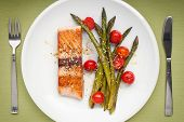 foto of white asparagus  - Salmon fillet with asparagus and cherry tomatoes on white plate - JPG