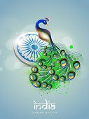stock photo of indian independence day  - Indian national bird peacock with ashoka wheel on blue background for 15th of August - JPG