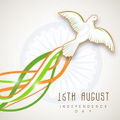 image of ashoka  - Beautiful flying pigeon on national waves on ashoka wheel background for 15th of August - JPG