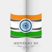 pic of ashoka  - Stylish flag design with national colors stripe and ashoka wheel on folded grey paper background for Indian Independence Day celebrations - JPG