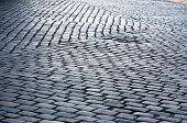 picture of pavestone  - grey cobblestone street pavement pattern closeup texture