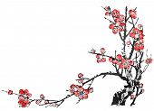 stock photo of chinese calligraphy  - Chinese painting of flowers - JPG