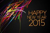 stock photo of glow  - 2015 Happy New Year Strands Line Glow Dark Background - JPG