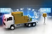 pic of fleet  - Transportation trucks in freight delivery in color background - JPG