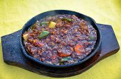 image of gator  - Hot and Spicy Crocodile Meat Meal with Vegetables. ** Note: Shallow depth of field - JPG