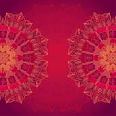foto of lace  - vector delicate lace round mandala pattern template - JPG