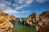 stock photo of lagos  - Famous cliffs of Ponta de Piedade Lagos Algarve Portugal - JPG