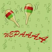 pic of maracas  - a pair of colored maracas and some text in a green background - JPG