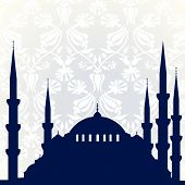 pic of constantinople  - Blue mosque with ornamental background - JPG