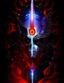 image of hells angels  - Scifi angel and devil looking mask portrait illustration with neon lights and metal shapes - JPG