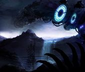 picture of alien  - Scifi backgound illustration with alien planet landscape and robots - JPG
