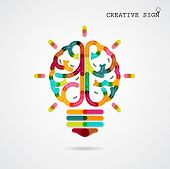 stock photo of left brain  - Creative infographics left and right brain function ideas on background - JPG