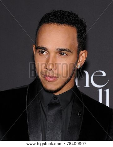 LOS ANGELES - DEC 11:  Lewis Hamilton arrives to the The First Annual Diamond Ball on December 11, 2014 in Beverly Hills, CA