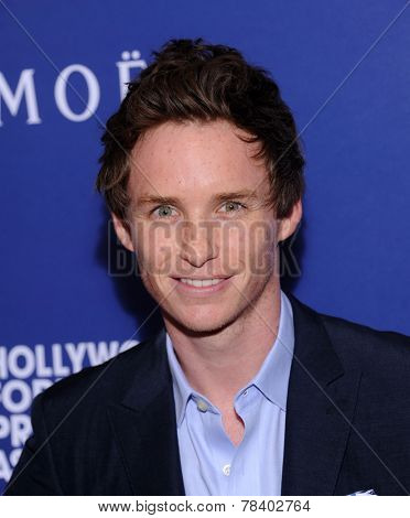 LOS ANGELES - AUG 14:  Eddie Redmayne arrives to the HFPA Annual Installation Dinner 2014 on August 14, 2014 in Beverly Hills, CA