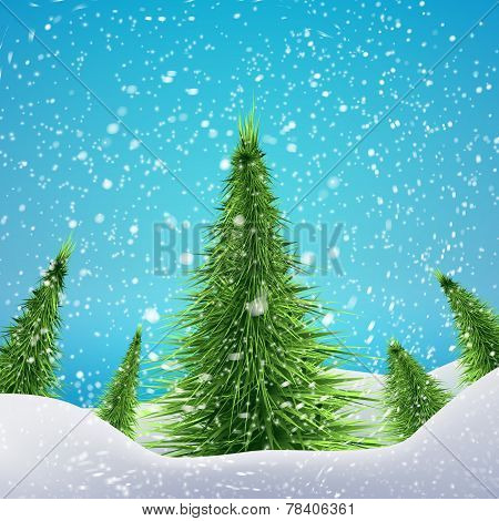 Christmas Forest with snowfall and drifts. Vector illustration concept for your artwork, posters, fl
