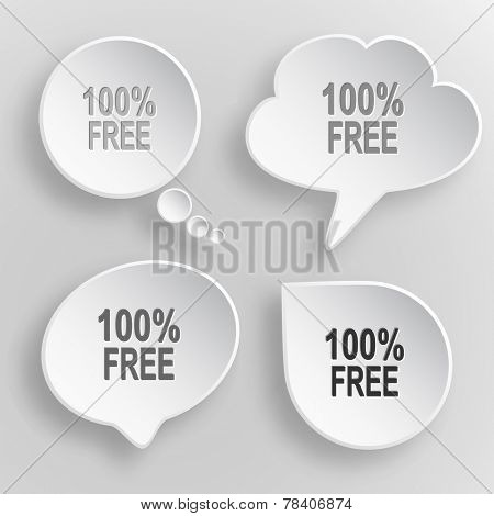 100% free. White flat vector buttons on gray background.