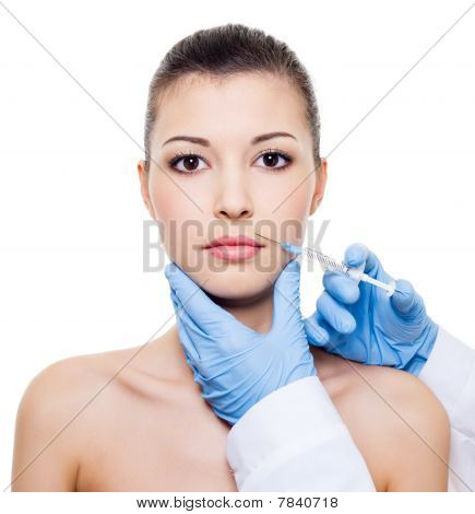 Injection In Woman Lips
