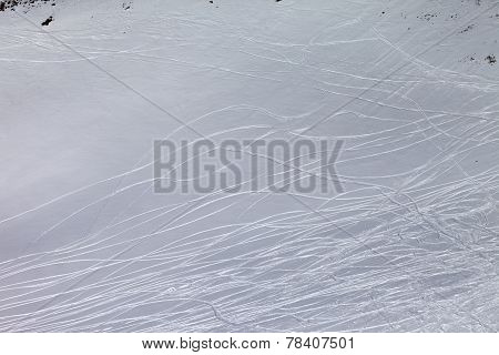 Off-piste Slope With Traces Of Skis And Snowboards