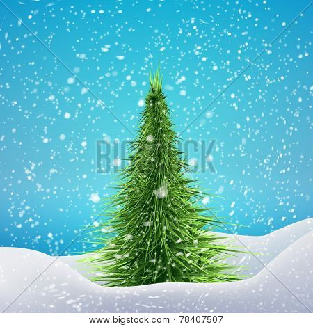 Christmas Tree with snowfall and drifts. Vector illustration concept for your artwork, posters, flye