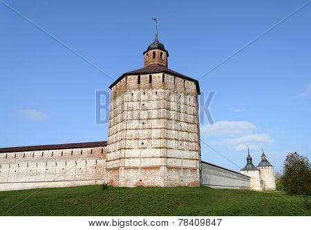 Towers And Walls Of Ancient Russian Monastery In Kirillov