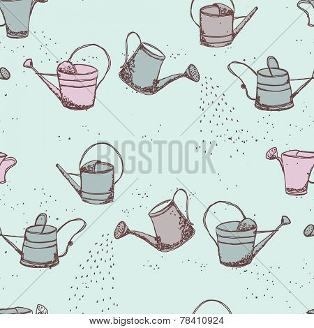 gardening theme, watering can seamless pattern