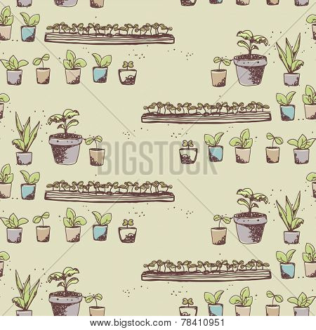 gardening theme, seedling seamless pattern