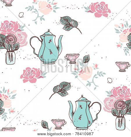 tea garden party seamless pattern
