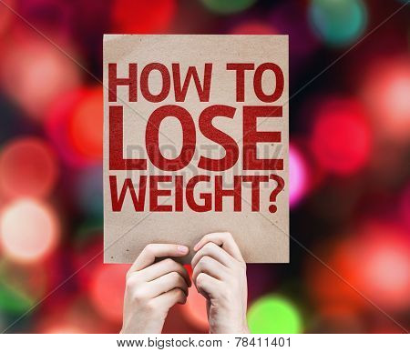 How To Lose Weight? card with colorful background with defocused lights
