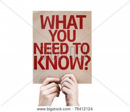 What You Need to Know? card isolated on white background