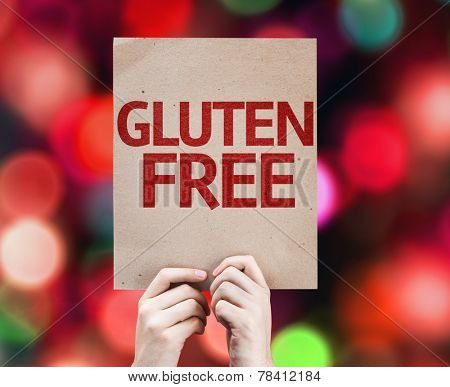 Gluten Free card with colorful background with defocused lights