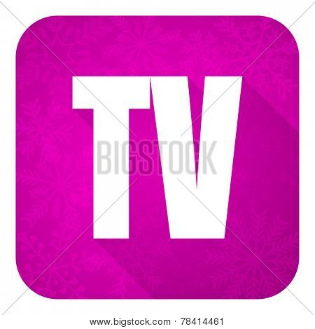 tv violet flat icon, christmas button, television sign