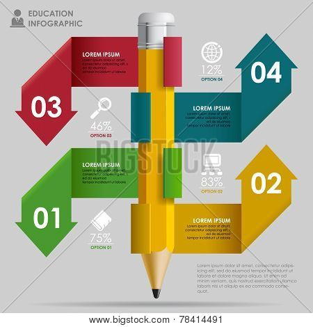 Education Template with pencil and ribbon arrows  in different color as banners, web icons and place for your content. Concept vector illustration