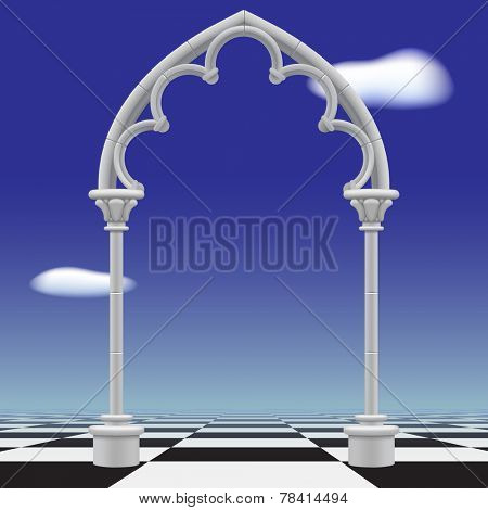 Gothic arch against a blue sky background and checkerboard floor. Vector illustration