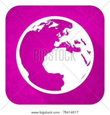 earth violet flat icon, christmas button, world sign