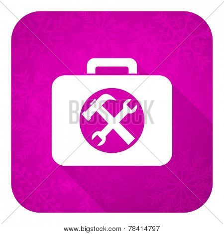 toolkit violet flat icon, christmas button, service sign