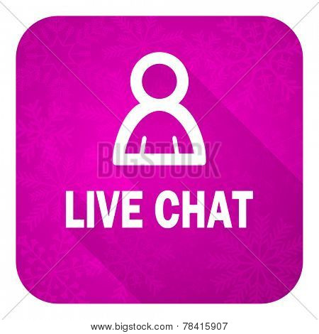 live chat violet flat icon, christmas button