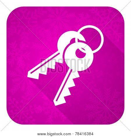 keys violet flat icon, christmas button