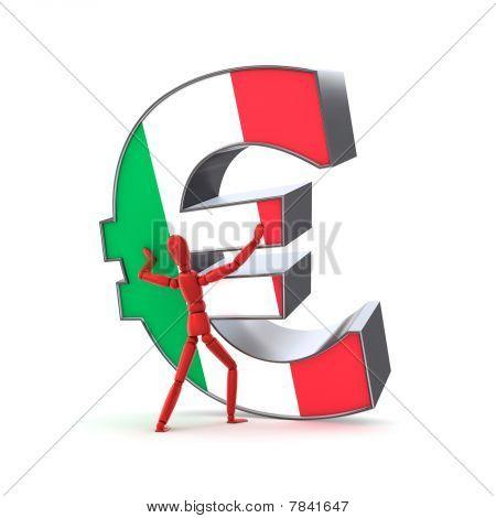 Mantendo-se o Euro - bandeira italiana