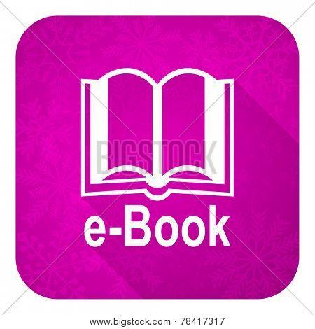 book violet flat icon, christmas button, e-book sign