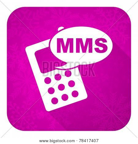 mms violet flat icon, christmas button, phone sign