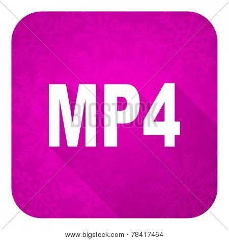 mp4 violet flat icon, christmas button