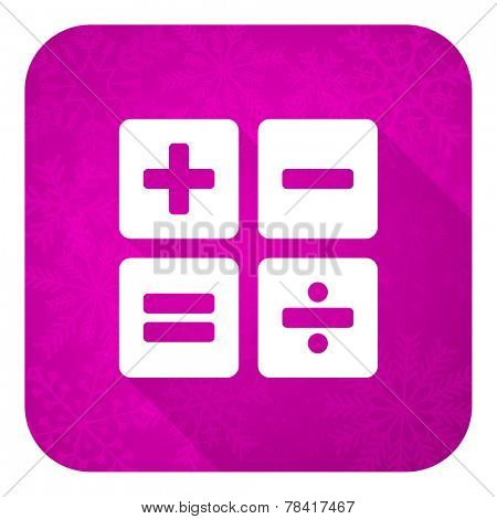 calculator violet flat icon, christmas button, calc sign