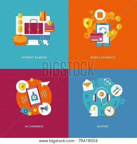 Set of flat design concept icons for business and marketing. Icons for internet banking, mobile paym