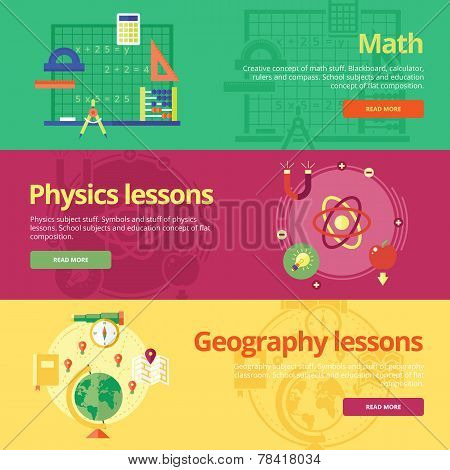 Set of flat design concepts for math, physics, geography. Education concepts for web banners and pri