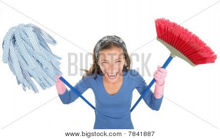Funny Cleaning Woman Isolated