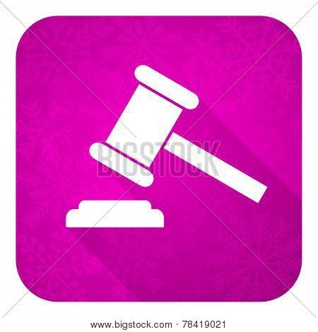 auction violet flat icon, christmas button, court sign, verdict symbol